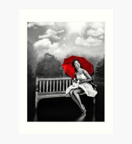 Rain on my red Umbrella Art Print