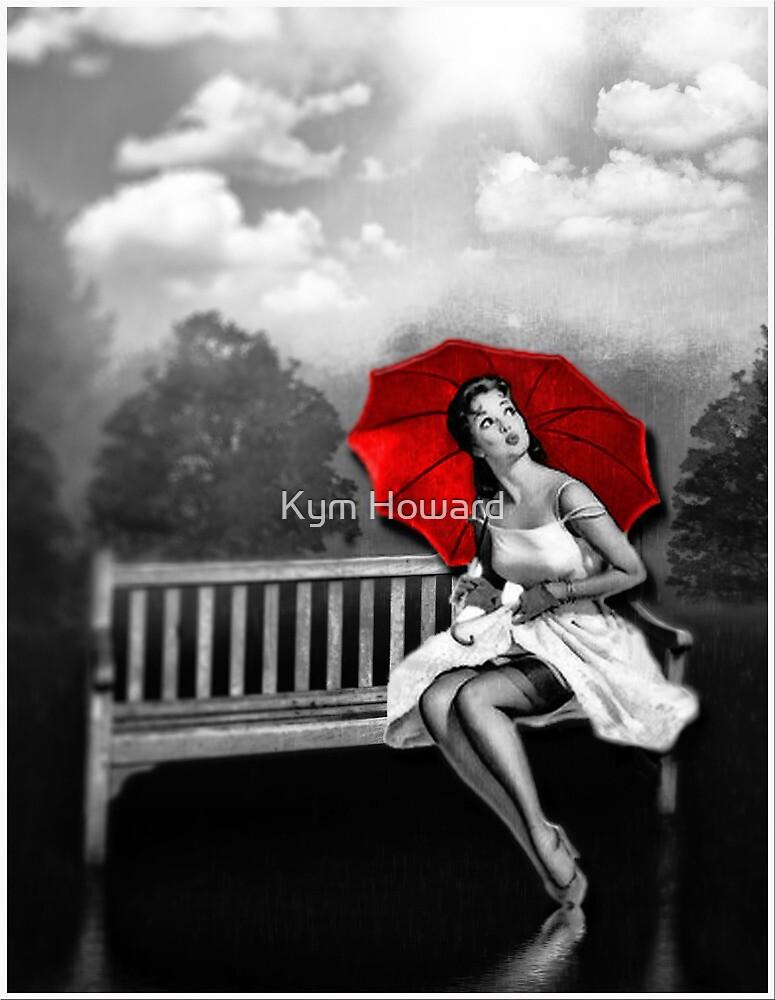 Rain on my red Umbrella by Kym Howard