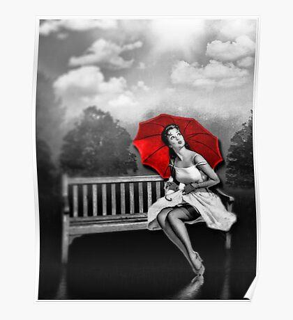 Rain on my red Umbrella Poster