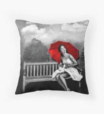 Rain on my red Umbrella Throw Pillow