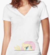 Flutterhide (Meep) Women's Fitted V-Neck T-Shirt