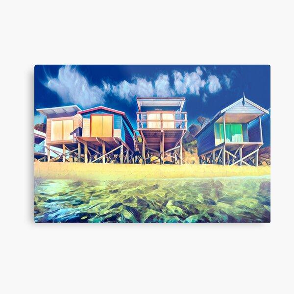Beach boxes in vivid colour Metal Print