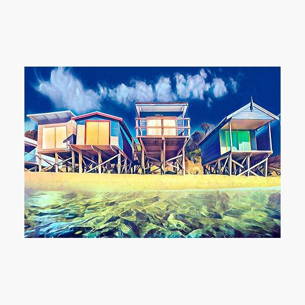 Beach boxes in vivid colour Photographic Print