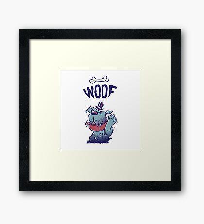 Woof Top Hat Dog Framed Print