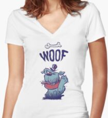 Woof Top Hat Dog Women's Fitted V-Neck T-Shirt