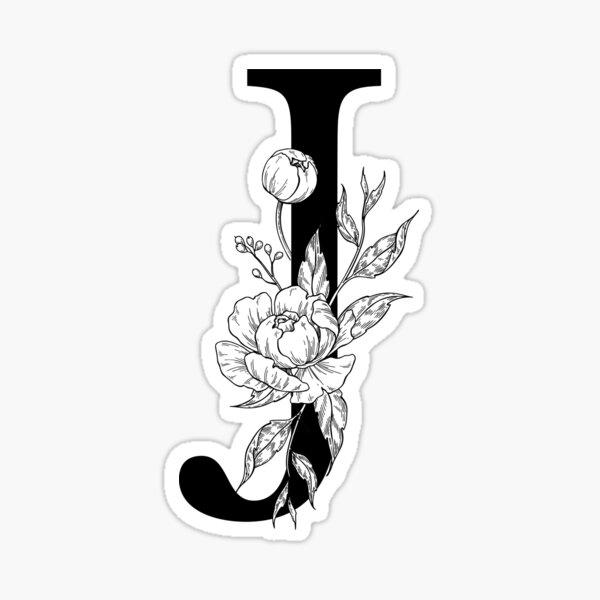 J Botanical Monogram. Detailed Peony Drawing Sticker