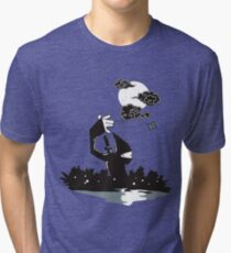 Surprise Ninja Attack on a Moonlit Night Tri-blend T-Shirt