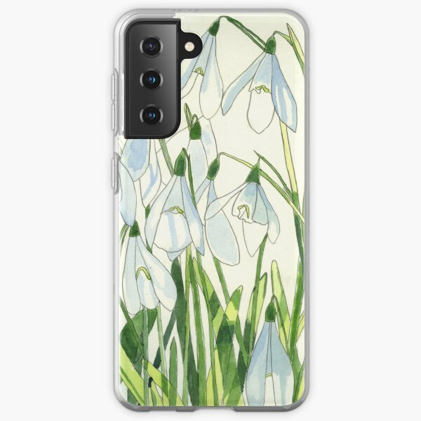 Snowdrops watercolour painting Samsung Galaxy Soft Case