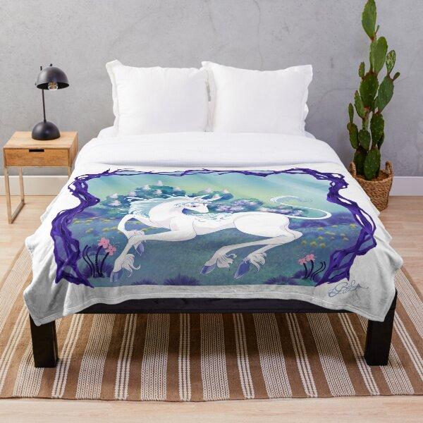 Unicorn lying in framed wood Throw Blanket