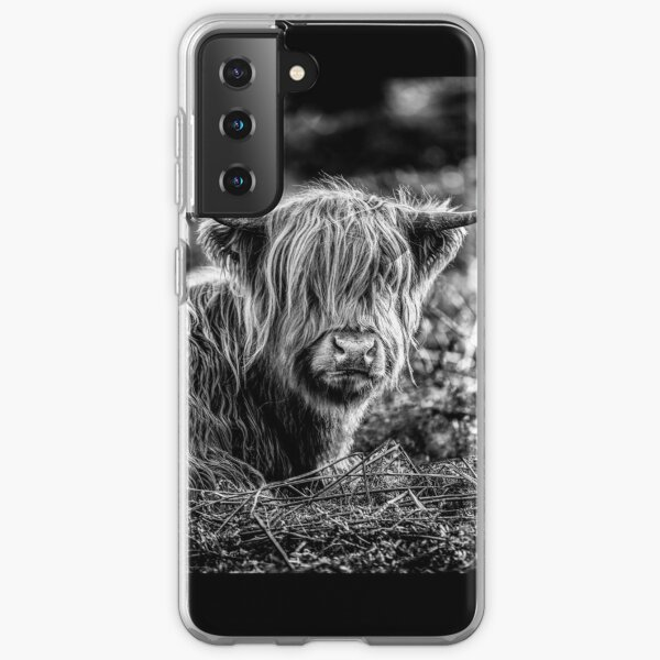 Highland Cow Black and White Samsung Galaxy Soft Case