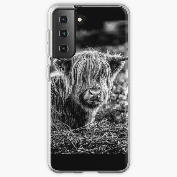 Highland Cow Black and White Samsung Galaxy Soft Case