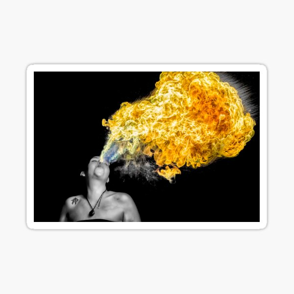 Fire Woman - Cait Merks Breathing Fire Sticker