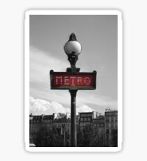 Paris Metro Sign B&W Sticker