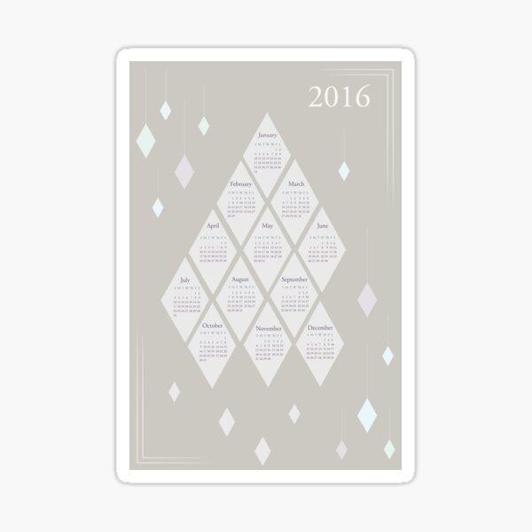 2016 Calendar - Diamonds Sticker
