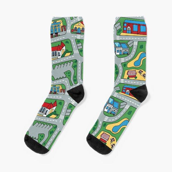 Car City Carpet Road Rug 90s Nostalgic Toy Socks