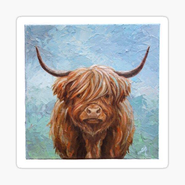 Scottish Highland Cow Painting Sticker