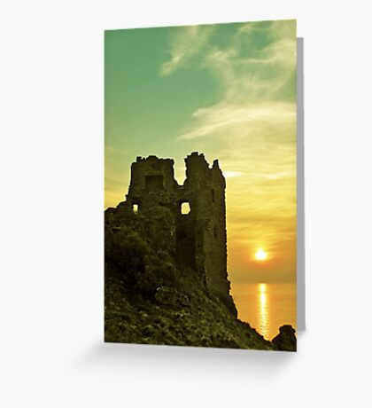 Sunsets over an ancient Scottish Castle Greeting Card