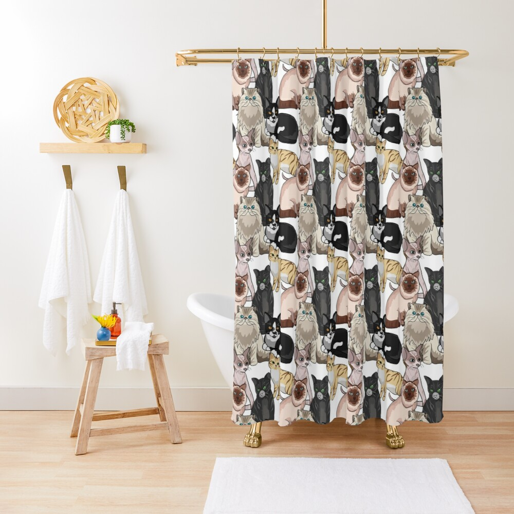 Many Cats Repeating Pattern Shower Curtain