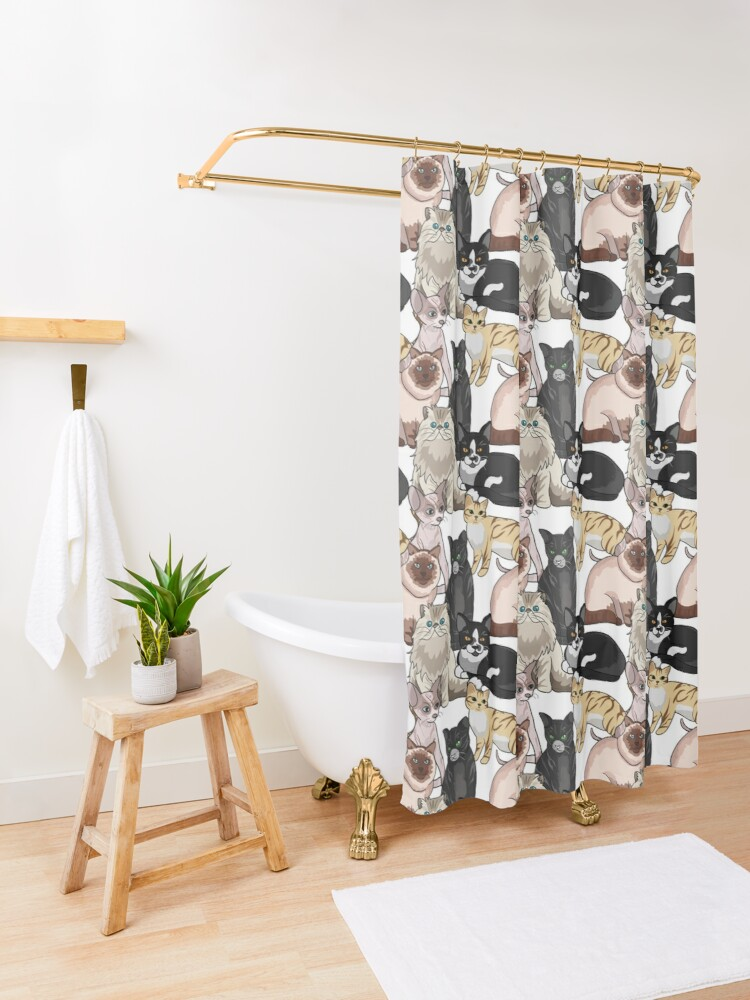Alternate view of Many Cats Repeating Pattern Shower Curtain