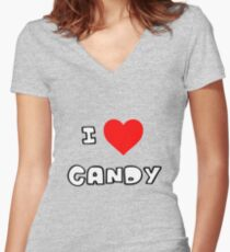 I Heart Candy Women's Fitted V-Neck T-Shirt