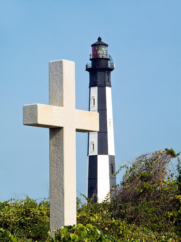 Cross and Lighthouse Juxtaposition by Kenneth Keifer