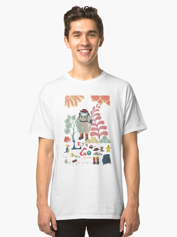Alternate view of Bear Travel - Let's Go Classic T-Shirt