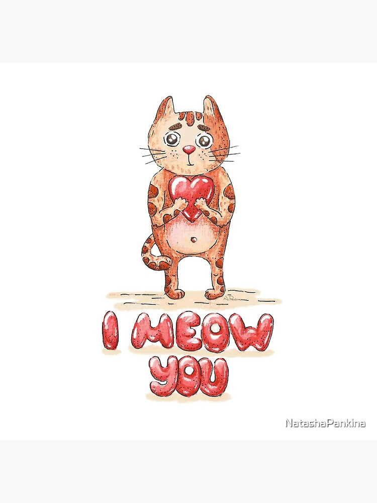 Hand drawn cute cat with heart - watercolor Valentine's Day illustration by NatashaPankina