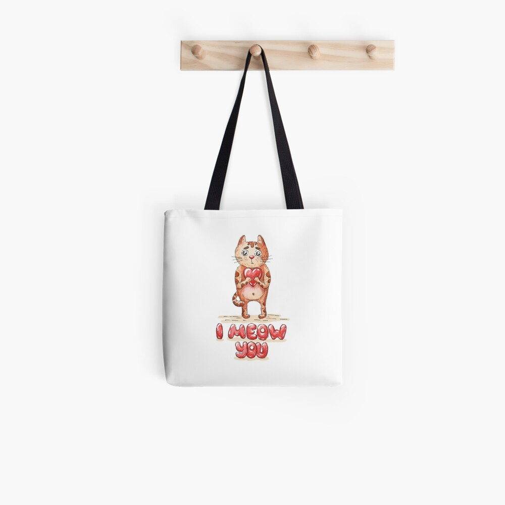 Hand drawn cute cat with heart - watercolor Valentine's Day illustration Tote Bag