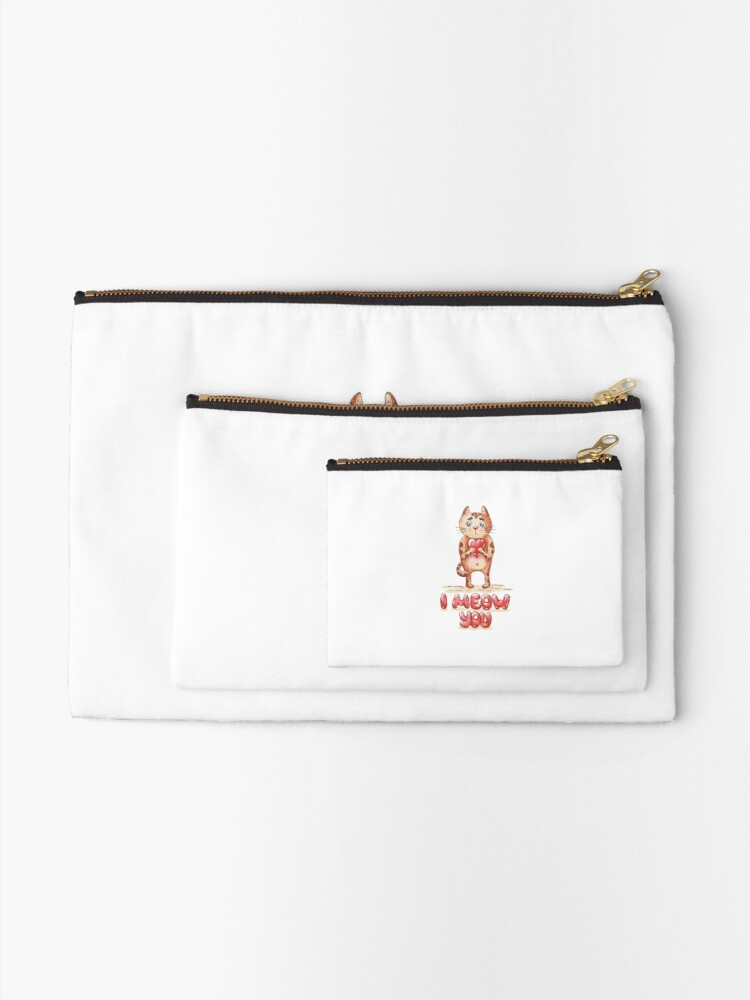 Alternate view of Hand drawn cute cat with heart - watercolor Valentine's Day illustration Zipper Pouch