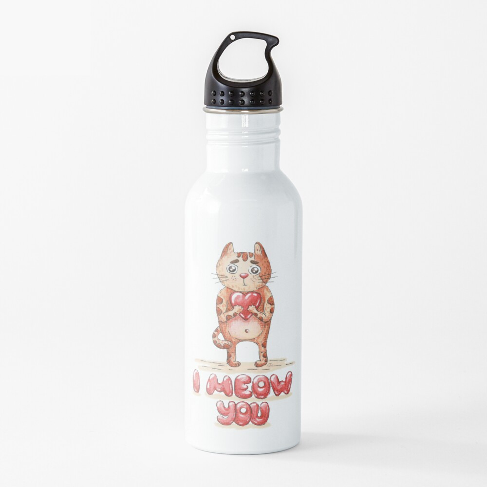 Hand drawn cute cat with heart - watercolor Valentine's Day illustration Water Bottle