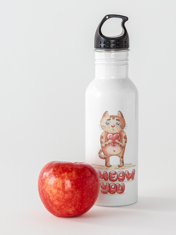 Alternate view of Hand drawn cute cat with heart - watercolor Valentine's Day illustration Water Bottle