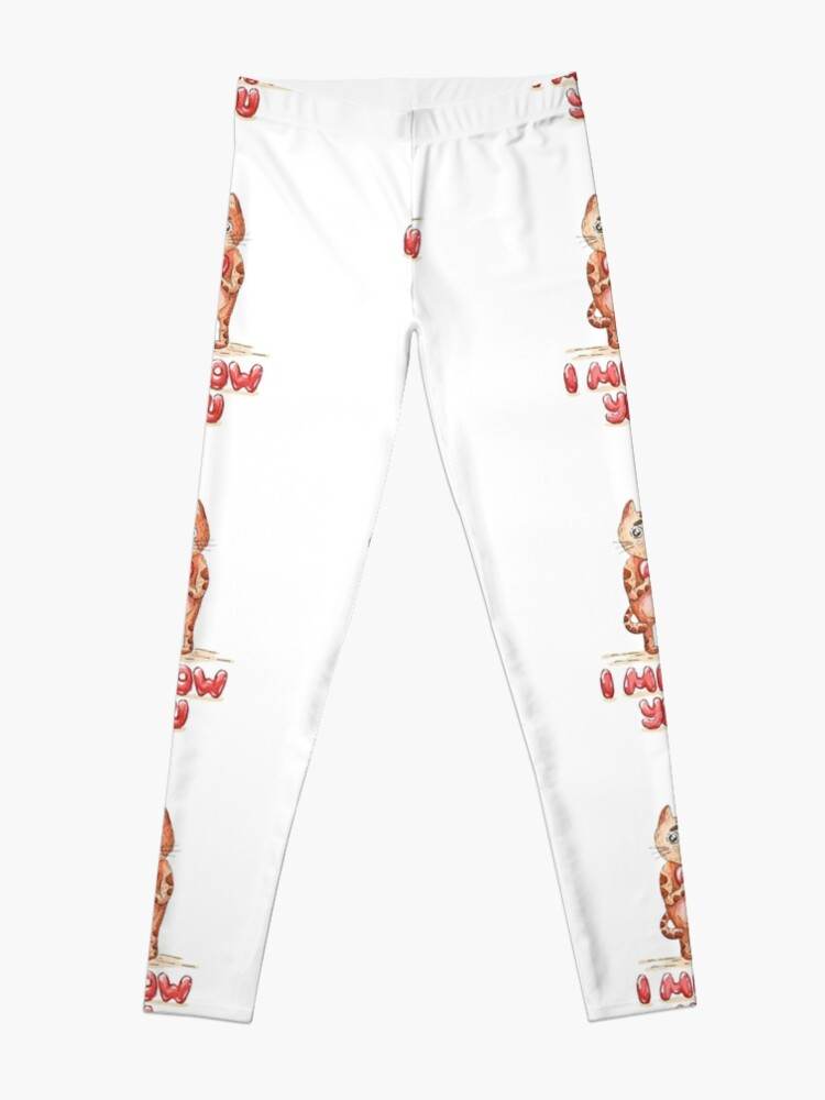 Alternate view of Hand drawn cute cat with heart - watercolor Valentine's Day illustration Leggings