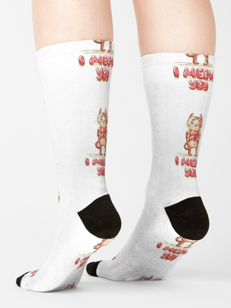 Alternate view of Hand drawn cute cat with heart - watercolor Valentine's Day illustration Socks