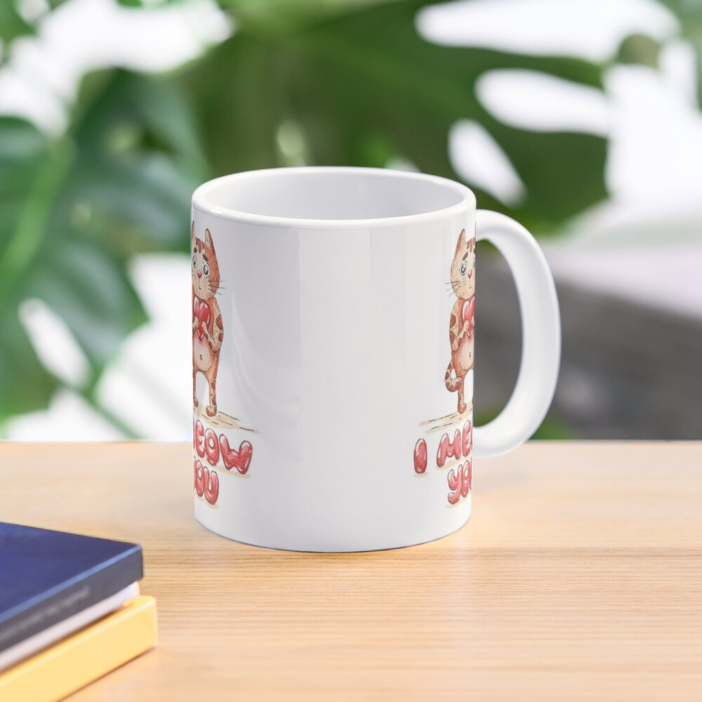 Hand drawn cute cat with heart - watercolor Valentine's Day illustration Mug