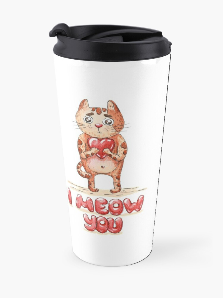 Alternate view of Hand drawn cute cat with heart - watercolor Valentine's Day illustration Travel Mug