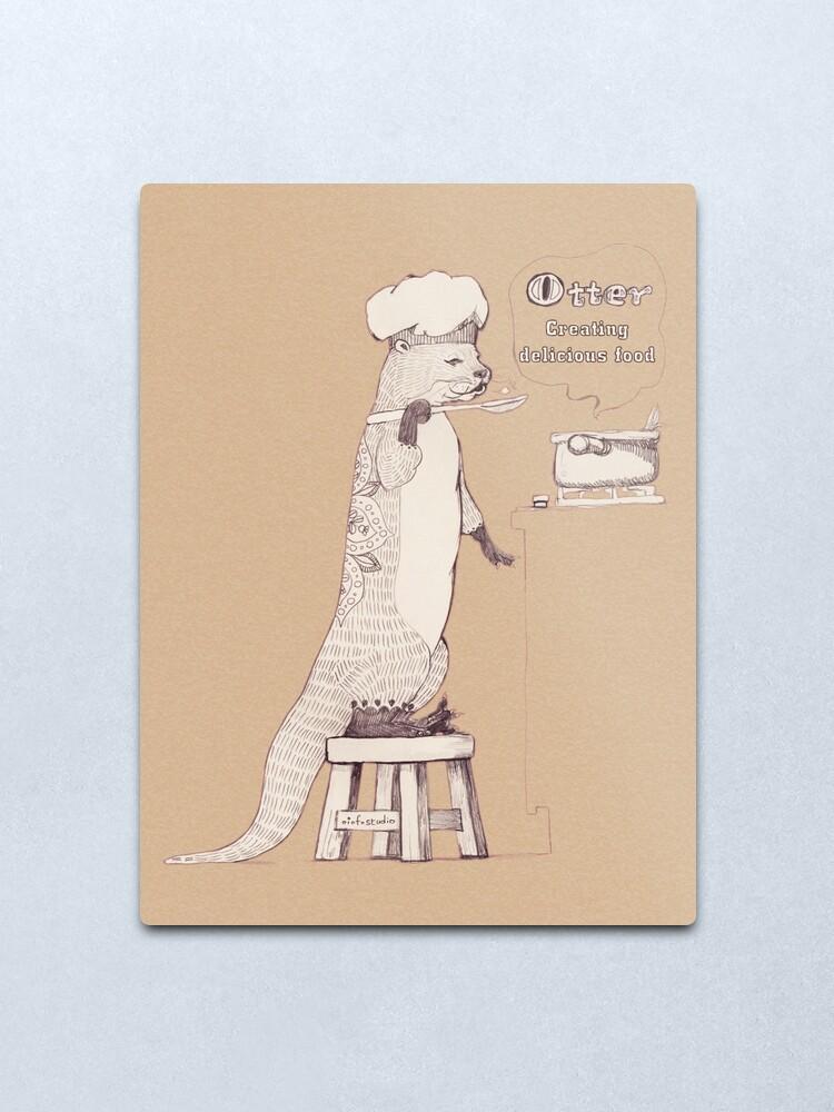 Alternate view of Creating delicious food - Otter-Burlywood Metal Print