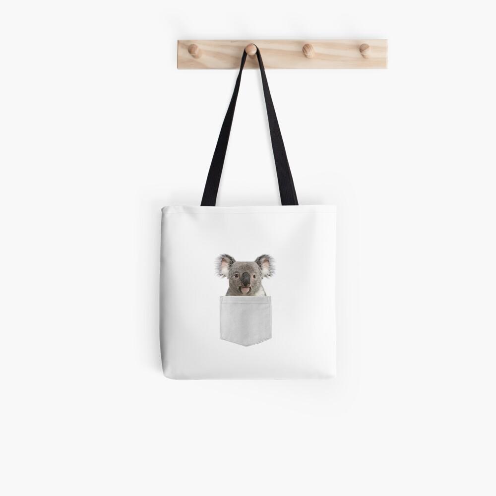 Koala in pocket, Funny Koala, aussie t shirt, australia shirt, funny shirts, cool t shirt, koala bear Tote Bag