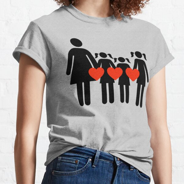 Mom and 3 daughters, hearts equal LOVE Classic T-Shirt