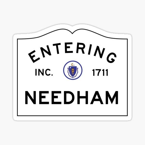 Entering Needham Massachusetts - Commonwealth of Massachusetts Road Sign  Sticker