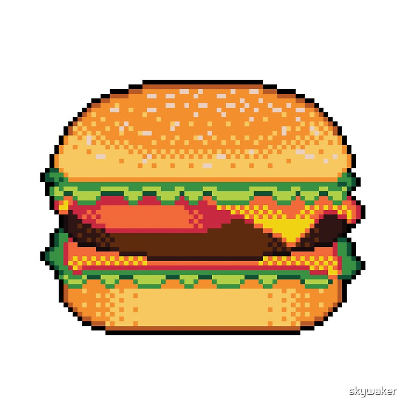 Quot Pixel Burger Quot Stickers By Skywaker Redbubble