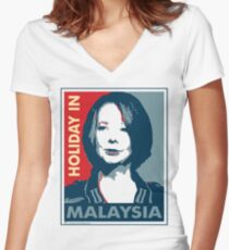 Julia - Holiday In Malaysia, Cream Women's Fitted V-Neck T-Shirt