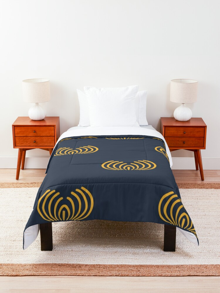 Alternate view of Navy blue art deco pattern Comforter