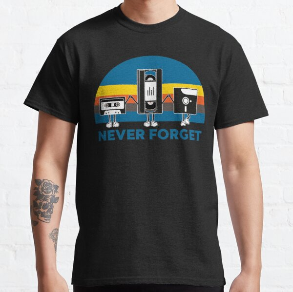 Never Forget   Vintage Retro Graphic Design   Computer Floppy Disks Cassette   Cool Gifts Classic T-Shirt