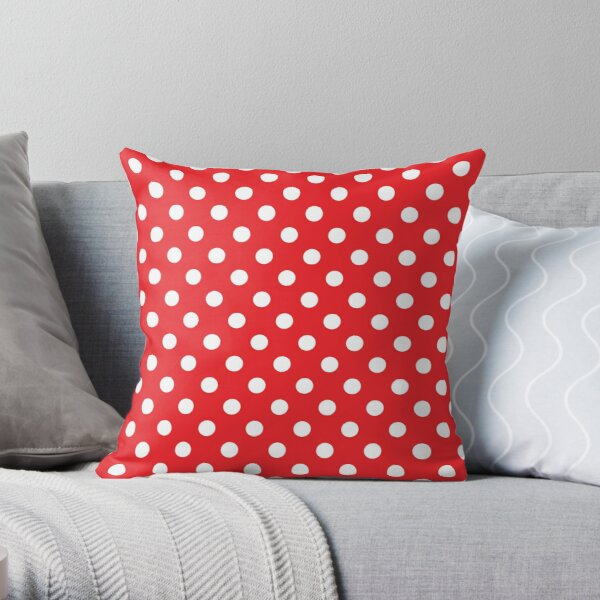 Red and white polka dot throw pillow