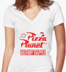 Pizza Planet Women's Fitted V-Neck T-Shirt