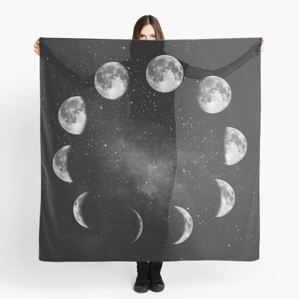 Moon Phase in Black and White Scarf
