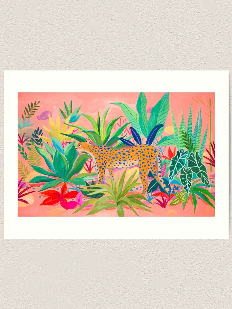 Alternate view of Leopard in Succulent Garden Art Print