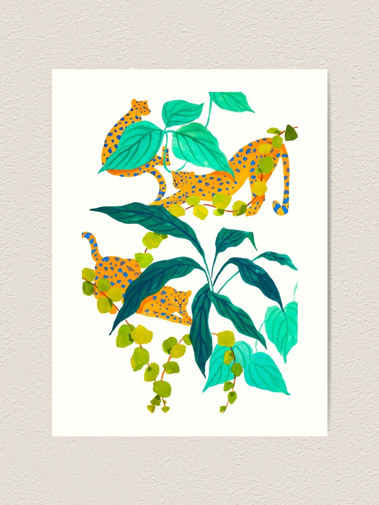 Alternate view of Leopards Playing among Plants Art Print
