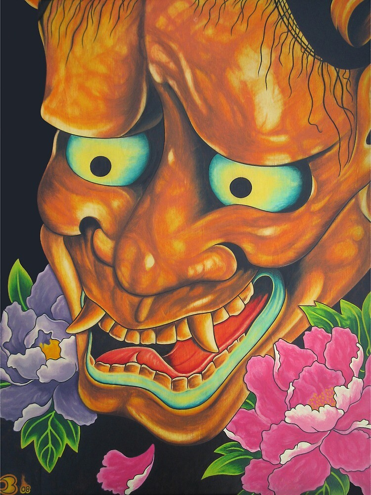 Hannya Mask  And  Peony Flowers by Chris Balazs