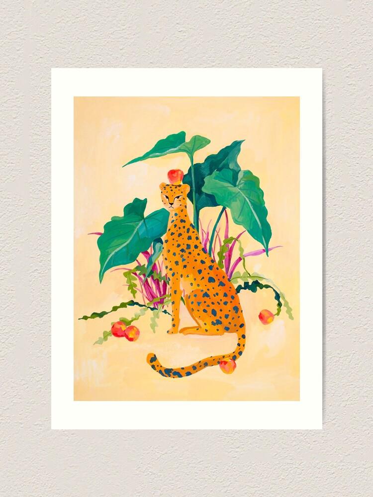 Alternate view of Cheetah and Apples Art Print